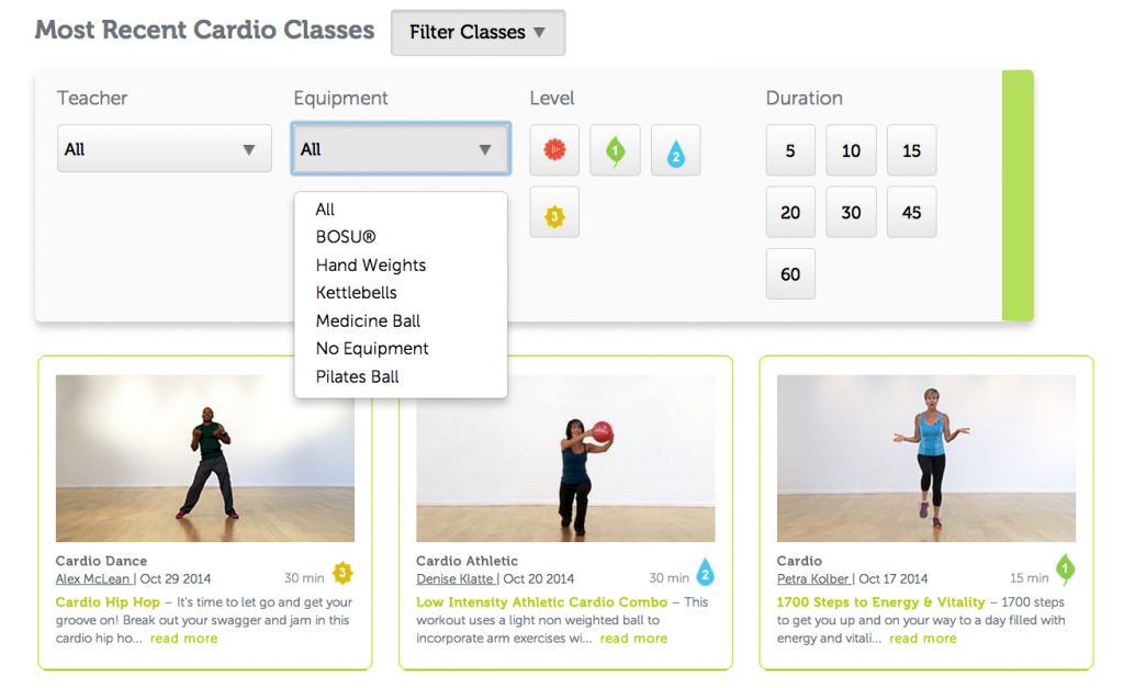 Select classes by equipment, duration, teacher and more.